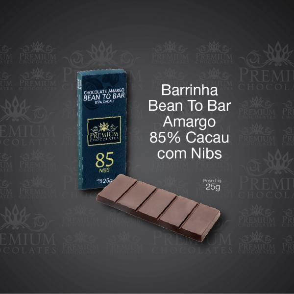 Barrinha Bean To Bar Amargo 85% Cacau com Nibs